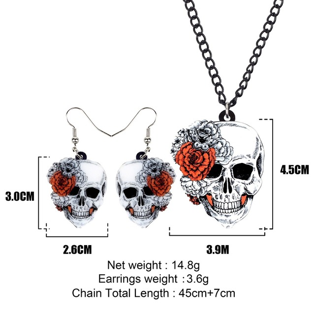Bonsny Statement Acrylic Halloween Rose Flower Skull Earrings Necklace Chain Jewelry Sets Retro Costumes Decoration For Women 5