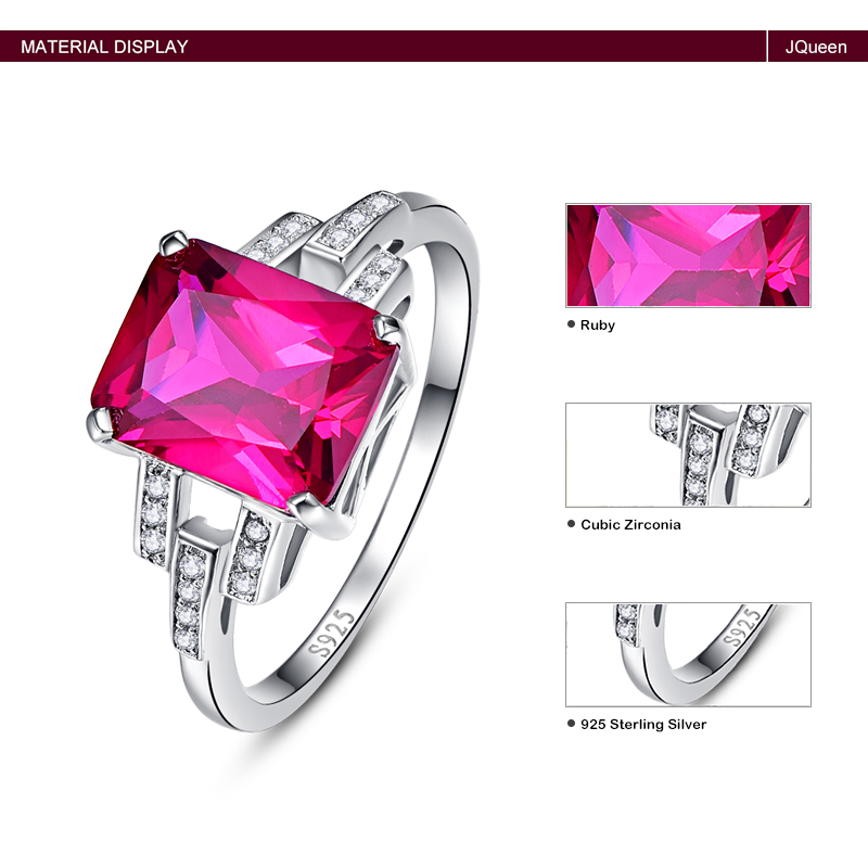 Pure 925 Sterling Silver Vintage Garnet Ruby Red Stone Ring
