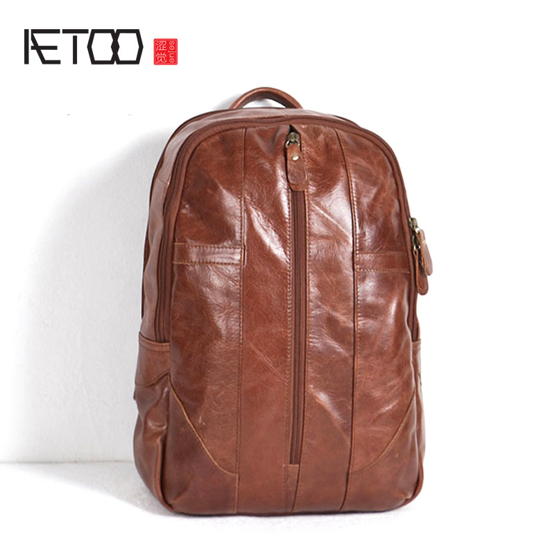 AETOO Original retro oil wax leather British casual leather Korean brown leather large capacity male shoulder bag