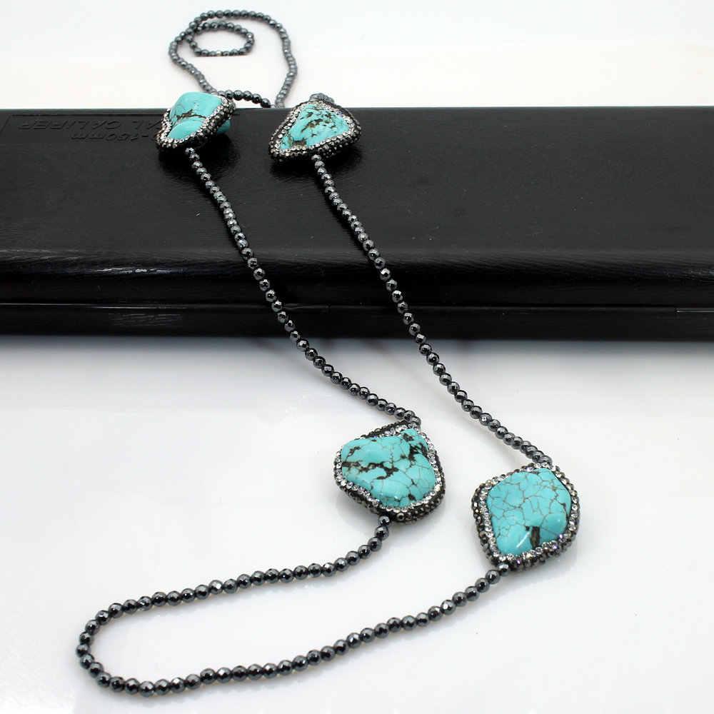 SINZRY 2018 NEW fashion Natural Stone beads long necklaces elegant cubic zircon irregular stone necklace personality jewellery