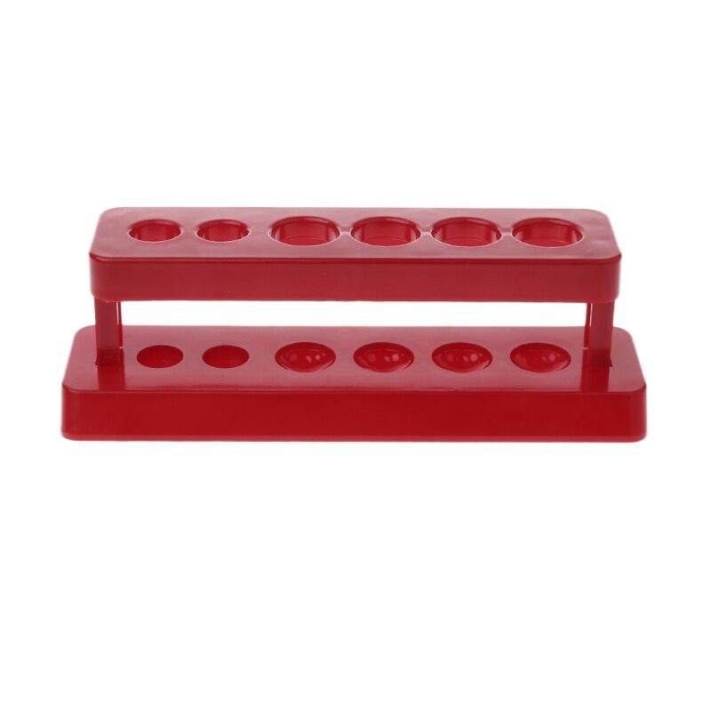 1pcTest Tube Holder 6 Hole Plastic Rack Red Stand Burette Stand Shelf Laboratory