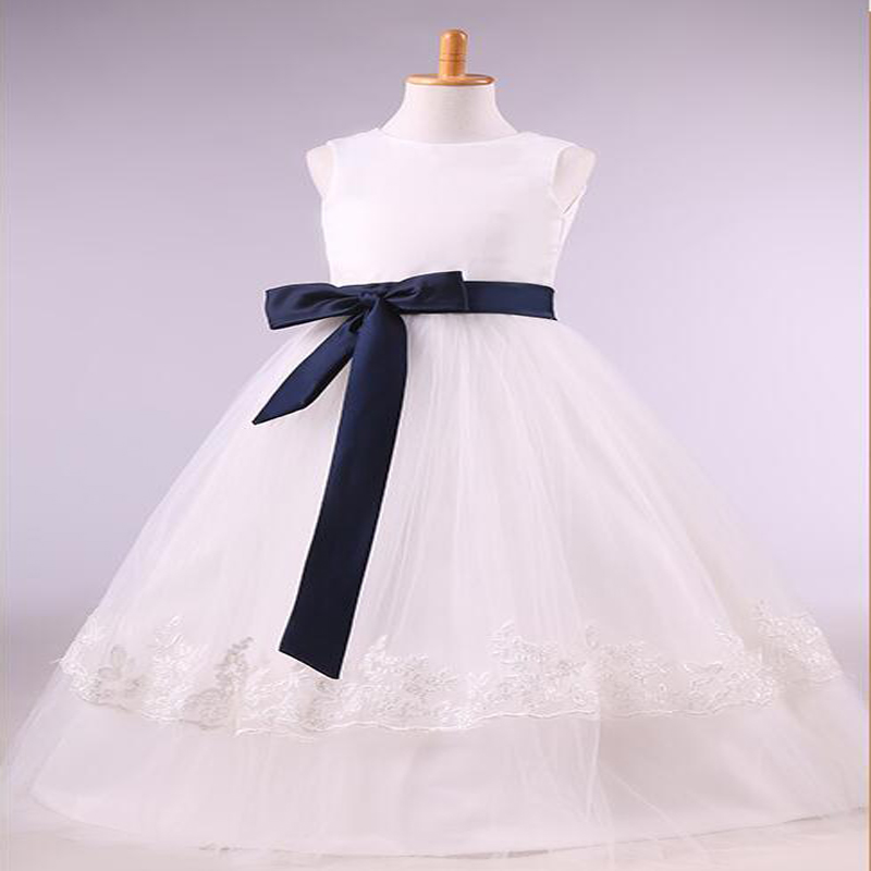 ФОТО Free Shipping A-Line  Flower Girl Dresses White Real Party Pageant Communion Dress Little Girls Kids/Children Dress for Wedding