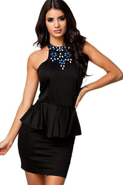 Jewelled Backless Black Peplum Dress Little Black Dresses 2017 Hot