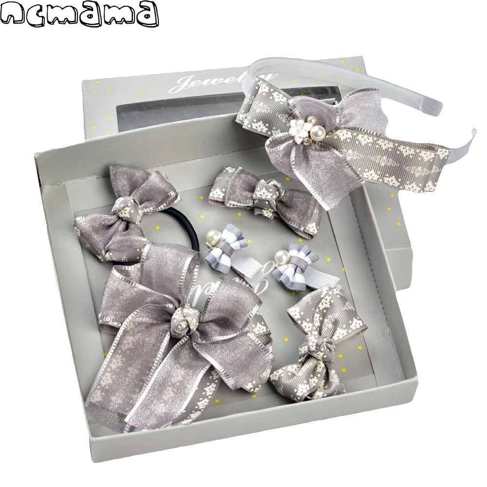 7 Pcs/Box Girls Hairpins Set Ribbon Barrettes Floral Hairbands Voile Hairclips with Safety Clips for Kids Cute Hair Accessories