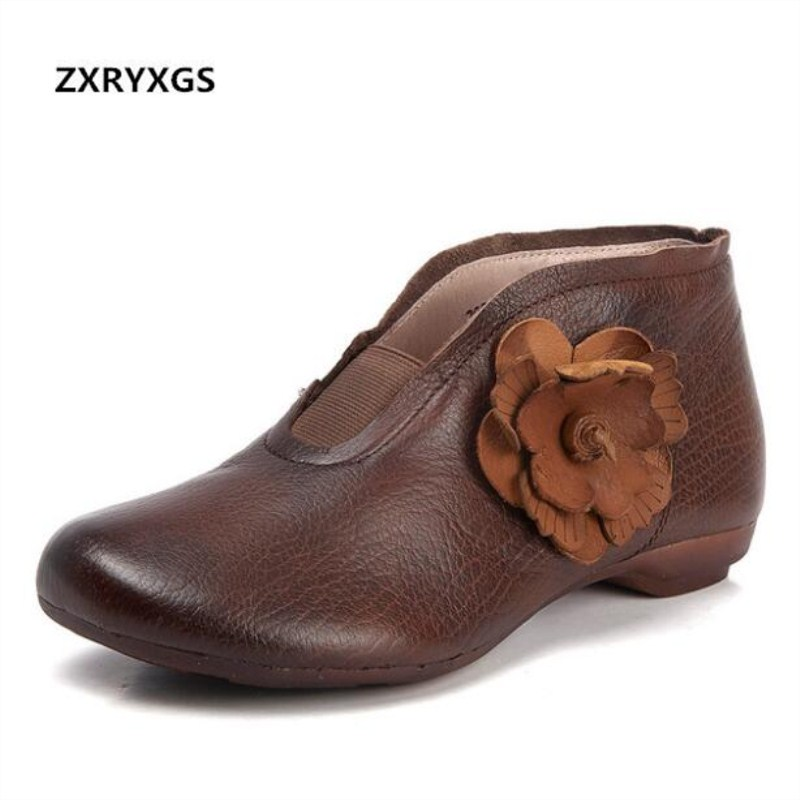 ZXRYXGS Brand Shoes Woman Handmade Retro Flowers Ankle Boots 2018 New Full Genuine Leather Boots Flat Soft Comfort Women Boots ZXRYXGS Brand Shoes Woman Handmade Retro Flowers Ankle Boots 2018 New Full Genuine Leather Boots Flat Soft Comfort Women Boots