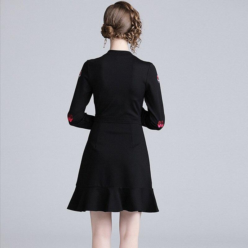 S XXL Large Size Zipper Cartoon Embroidery Mini Dress Women Stain Runway Black Dress Women Trumpet Women Work Dress Elegant in Dresses from Women 39 s Clothing