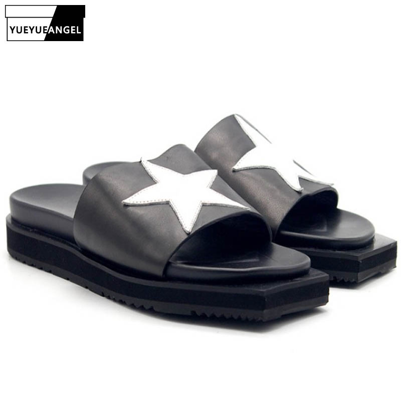 Summer Men Loafers Slippers Med Irregular Platform Flats Slides Star Spliced Top Quality Genuine Leather Unisex Beach SlippersSummer Men Loafers Slippers Med Irregular Platform Flats Slides Star Spliced Top Quality Genuine Leather Unisex Beach Slippers