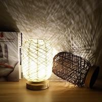 Işıklar ve Aydınlatma'ten LED Gece Lambaları'de Rattan topu LED masa lambası yaratıcı art deco basit gece lambası yatak odası başucu lambası çocuk hediye USB şarj hemşirelik lambalar