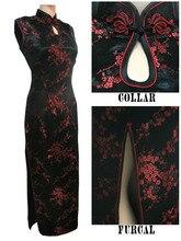 أسود أحمر فستان صيني تقليدي للنساء من الساتان طويل رسن شيونغسام كيباو موجير Vestido Flower مقاس S M L XL XXL XXXL J3035