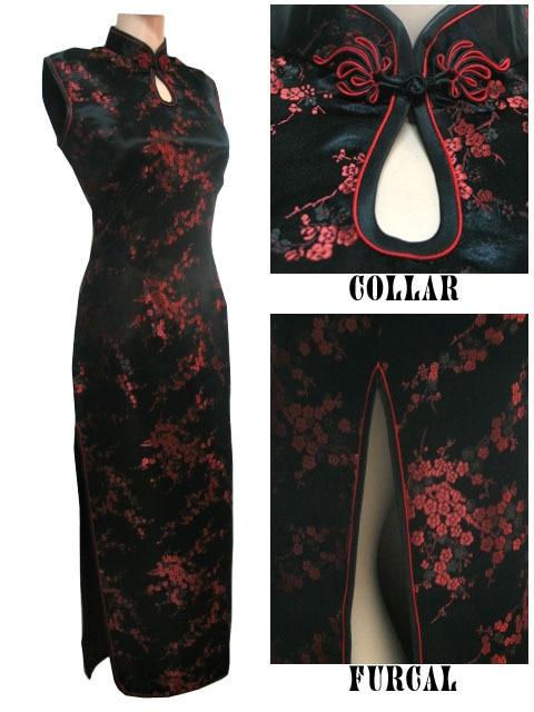 Black-Red Traditional Chinese Dress Women's Satin Long Halter Cheongsam Qipao Mujere Vestido Flower Size S M L XL XXL XXXL J3035