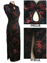 黒 レッド繁体字中国語ドレス女性のサテンロングホルターネックチャイナドレス袍mujere vestido花サイズsml xl xxl xxxl J3035