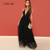 COLROVIE Black Solid Deep V Neck Backless Criss Cross Mesh Party Dress Women 2018 Autumn Sexy Dress Vintage Evening Maxi Dresses