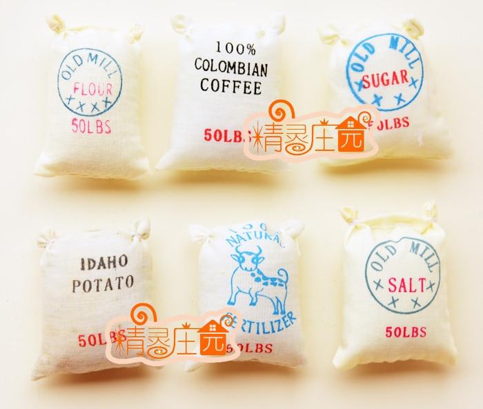 1:6 Cute MINI Dollhouse Miniature Food accessories dollhouse kitchen Chinese food Mini simulation Six bags of flour