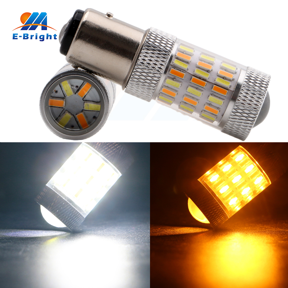 1PC 1157 BAY15D Dual Function Bulb Led Turn Signal Light White Amber/Yellow 4014 60 SMD DC 12V Car Brake Warning Light Auto Lamp 1157 bay15d 5050 30 smd 4w 6500k 360lm led car light bulbs dc 14v pair