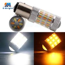 1pcs 2 Colors Bulb White and Amber/Yellow 1157 BAY15D 4014 60 SMD LED Bulb Car Turn Signal Warning Light Auto LED Lamp 12V 600LM