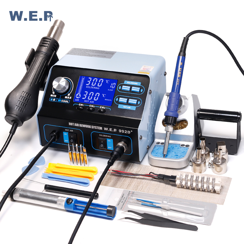 WEP 992D+ Soldering Iron Hot Air Soldering Station Phone IC PCB Repair Desoldering Station BGA Rework Station Soldering Tool