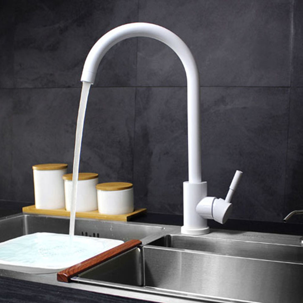 SUS 304 stainlessl steel Tap Kitchen Faucets Contemporary White ...