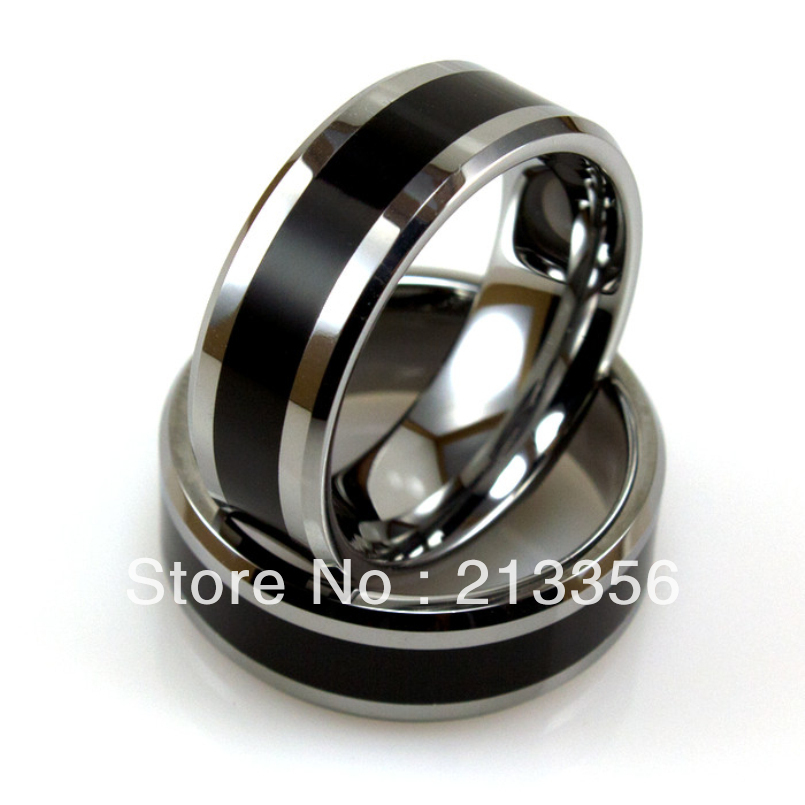 free shipping wholesales cheap price promotion sales usa hot selling mens silver tungsten ring with smooth black resinonyx - Black Onyx Wedding Ring