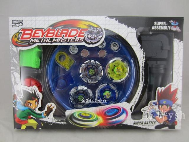 Classic toys beyblade metal fusion spinning top gyroscope 4 beyblade for sale alloy gyro plate kit beyblade sets