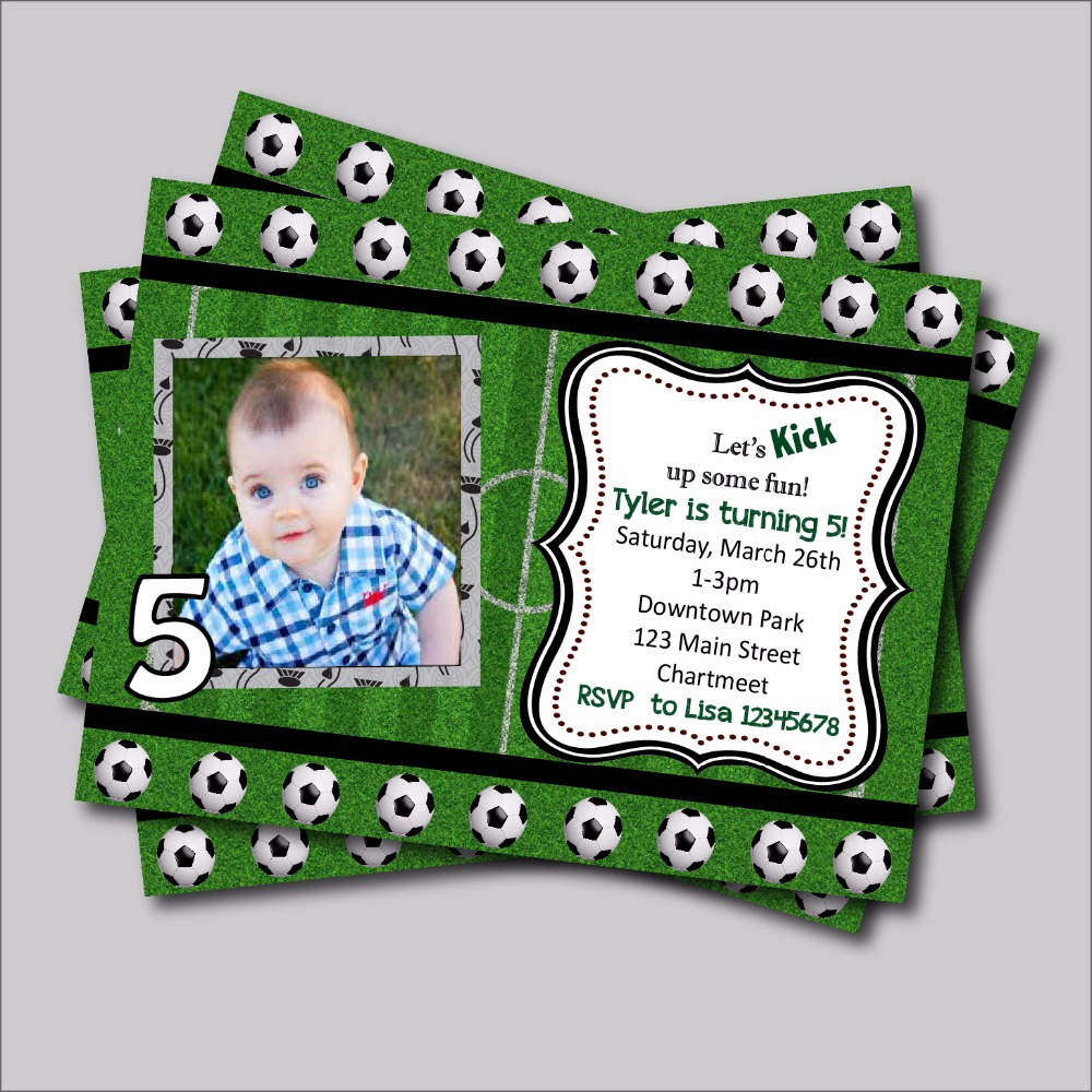 20 pcs/lot personalized Football Birthday Invitation Baby Shower ...