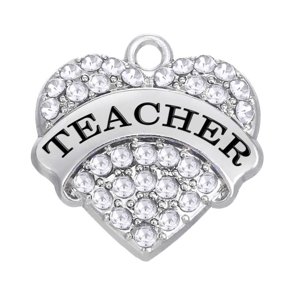 my shape 10pcs Zinc Alloy Rhodium Plated Great Teacher Clear Pink Blue Crystal Heart Pendant Accessaries Charm