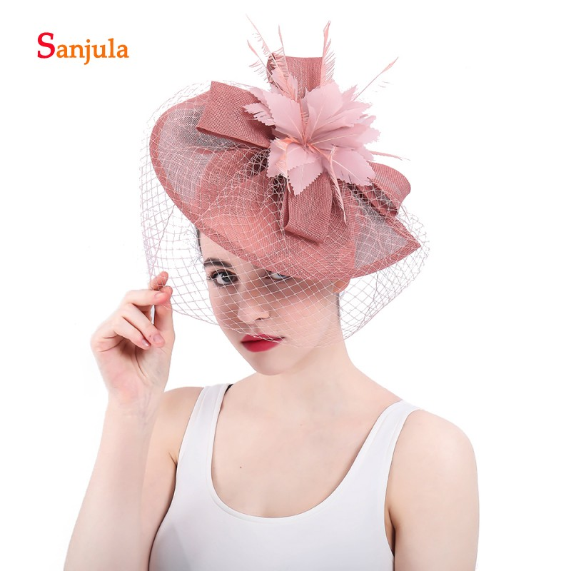 872f7b9f65971 Europe Style Blush Pink Women s Hat with Face Veil Bridal Hast Feathers  Fascinators Hair Decoration pamelas boda sombrero H49