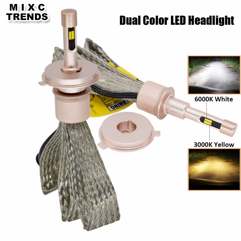 Auto LED Light Dual Color ZES H7 LED H1 H3 H11 9006/HB4 9005/HB3 9012 880 H4 Dual Beam LED Car Headlight Dipped Beam Fog light modern car pair 70w fog light dual color white yellow h11 h4 h7 h1 h3 880 9005 hb3 9006 hb4 auto led front fog lamp bulbs dc12v