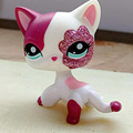 8 cm mascota adorable colección figura de acción lps 2291 sparkle pink & white cat con el bolso del opp