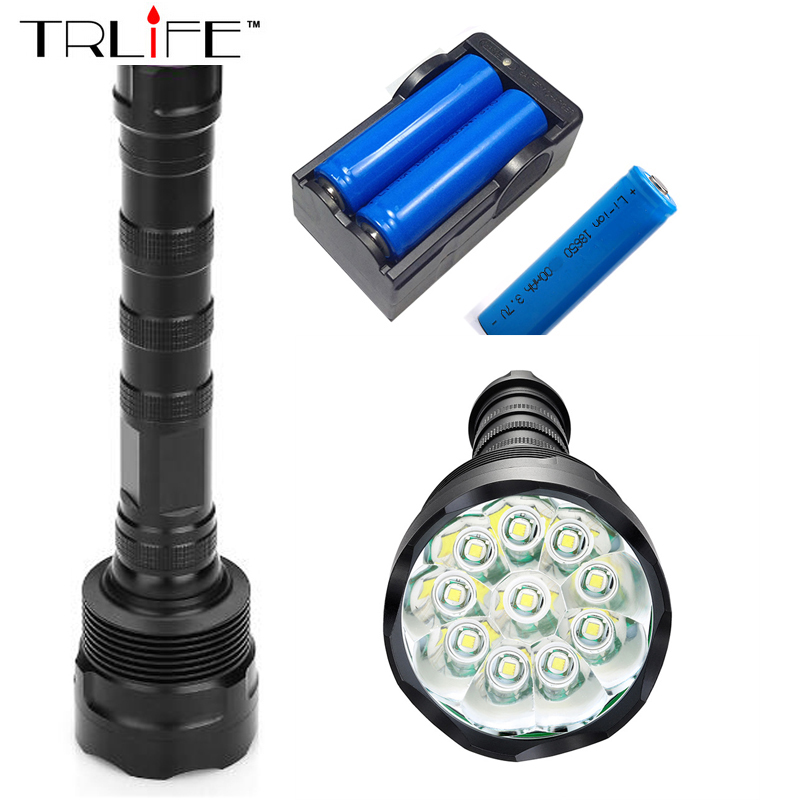 10T6 Torch LED Flashlight 40000 Lumens Lamp Lights 10 XM-L T6 Flash Light Floodlight Camping Lantern Hunting + 3x 18650 +Charger 3800 lumens cree xm l t6 5 modes led tactical flashlight torch waterproof lamp torch hunting flash light lantern for camping z93