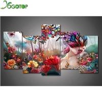 YOGOTOP DIY Diamond Painting Cross Stitch 5D Diamond Embroidery Full Diamond Mosaic Decor Flower Butterfly Girl