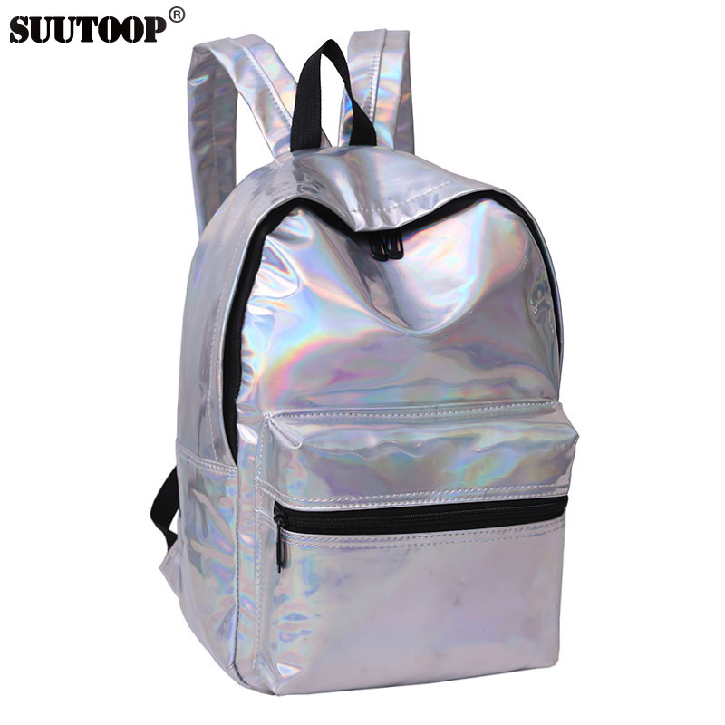 New Women Laser Big Backpack Hologram DaypacksShoulder Bag Holographic Bagpack For Teenagers Girl Mochila Feminina Gold Silver