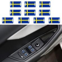 10 шт., Шведский флаг, руль, 3D эпоксидный автомобиль, подходит для Volvo V40 V60 S60L, щит, автомобильная наклейка, Швеция, Национальная эмблема, автомобильный стиль