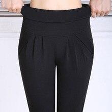 Весенние женские брюки европейского стиля размера плюс S-6XL, штаны-шаровары с эластичным поясом, брюки-карандаш с карманами, Брендовые женские Капри