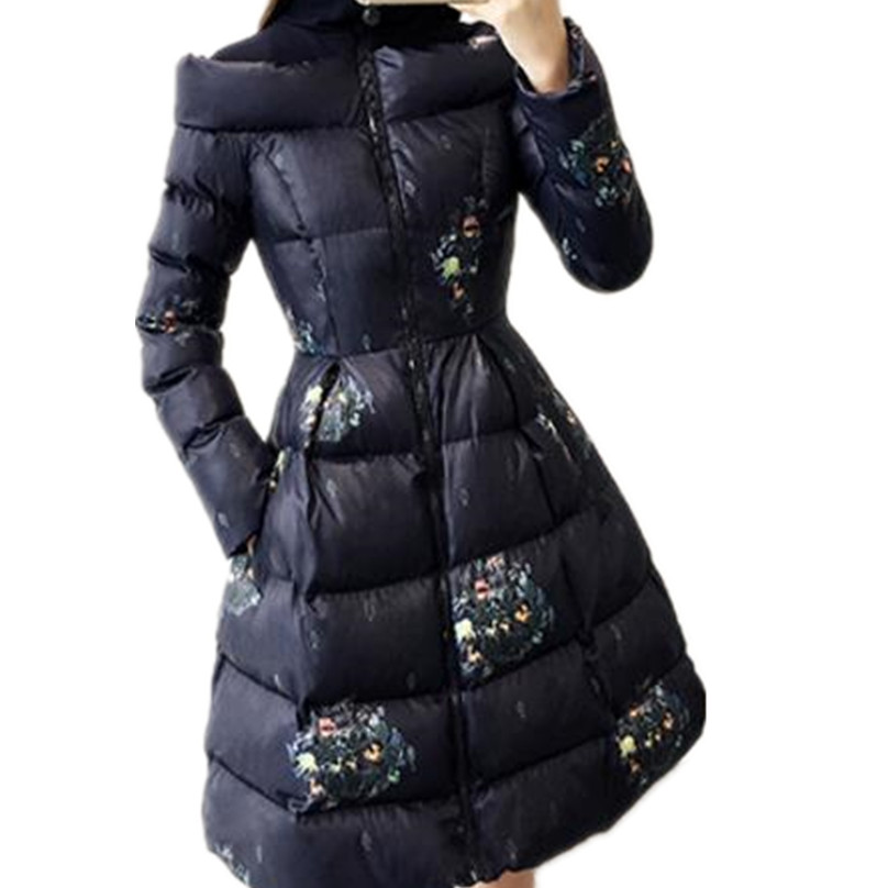 new winter coat women Thick printed long   parka   womenplus size