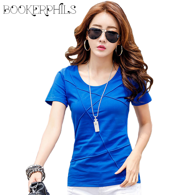 2018 Fashion Solid Wrinkle Women Summer   T  -  Shirt   Brand Casual Slim Women Tops Tees Short Sleeve Female   T  -  shirts   Cotton Plus Size
