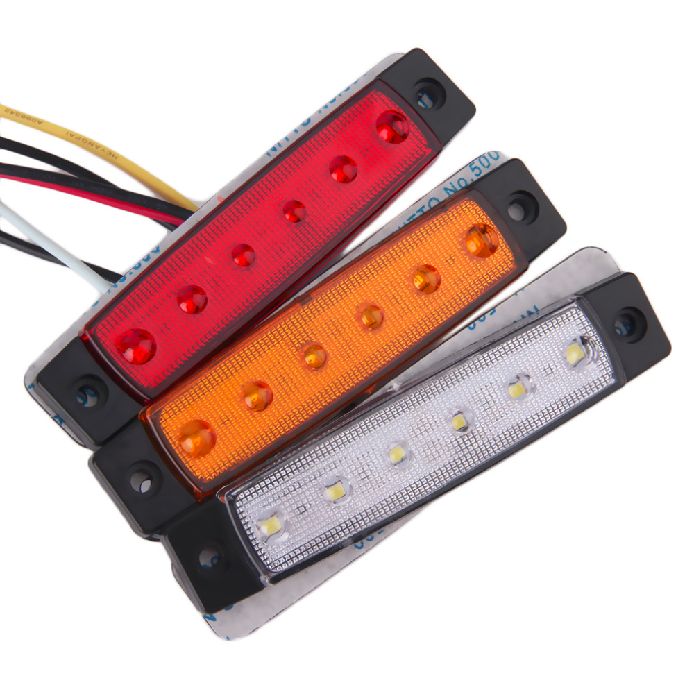 CATUO 2017 1pc 6 LED Car Truck Trailer Side Marker Indicators Lights Lamp 12V Waterproof Red/White/Yellow Hot Selling