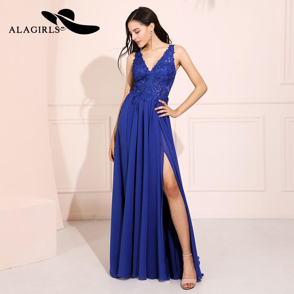 Alagirls bleu Royal mousseline de soie robes de bal 2019 col en V dentelle perlée robe de soirée robe de fête robe de noche
