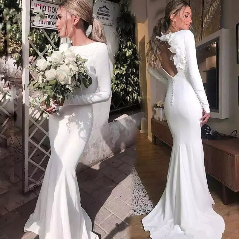 DZW288 Elegant Mermaid wedding Dresses Long sleeves Simple Satin Wedding gowns Sexy Backless Hand flower Bridal wedding gown
