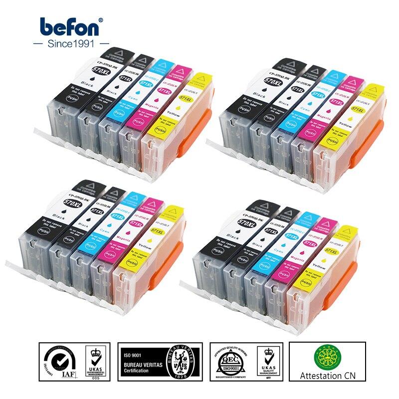 Befon 570 571 XL Remplacement de cartouche D'encre pour Canon PGI570 CLI571 IGP Pixma MG5750 MG5751 MG5752 MG5753 MG6850 MG6851 Imprimante