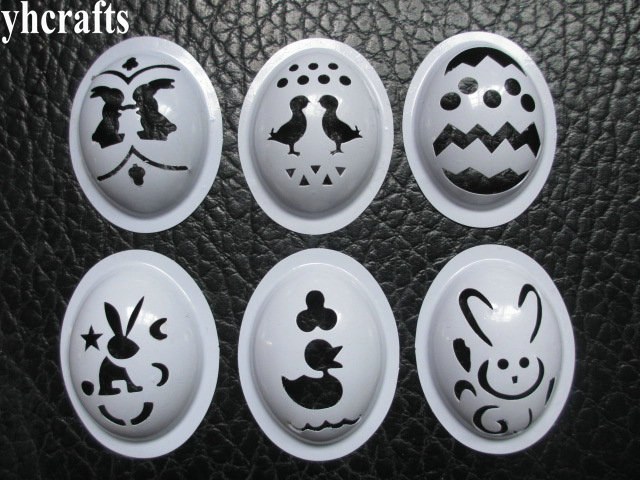6PCS/LOT.Mix Plastic Egg Stencil Egg Mould Paint Template Toy For Children Easter Crafts Creative Diy Kindergarten Arts Crafts