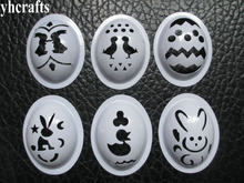 6 PCS/LOT. mix de plástico ovo Pintura template stencil molde Ovo Brinquedo para crianças artesanato de Páscoa diy Criativo artes ofícios do jardim de Infância