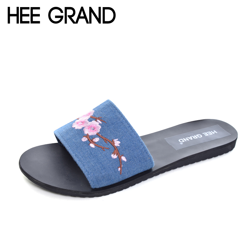 HEE GRAND Embroidery Slippers 2017 New Summer Flats Slides Casual  Shoes Woman Slip On Platform Women Shoes XWT833 wedges gladiator sandals 2017 new summer platform slippers casual bling glitters shoes woman slip on creepers