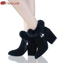29b08ac78 BENZELOR/2018 зимняя женская обувь, женские ботинки на высоком квадратном  каблуке, ботильоны с острым носком и искусственным мех.