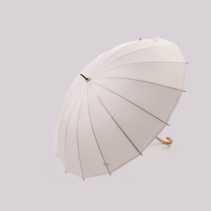 Chinese style Bamboo Rattan Long Umbrella Men and women Retro Curved Handle Large Rain Umbrella Windproof Adult Parasol
