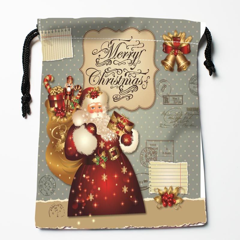 New Arrive Santa Claus Drawstring Bags Custom Storage Bags Printed Gift Bags More Size 27x35cm DIY Your Picture