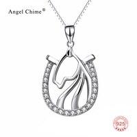 925 Sterling Silver Cyrkonia Kryształ Głowa Konia Horseshoe Wisiorek Dławiące Naszyjniki Biżuteria Prezent Dla Kobiet