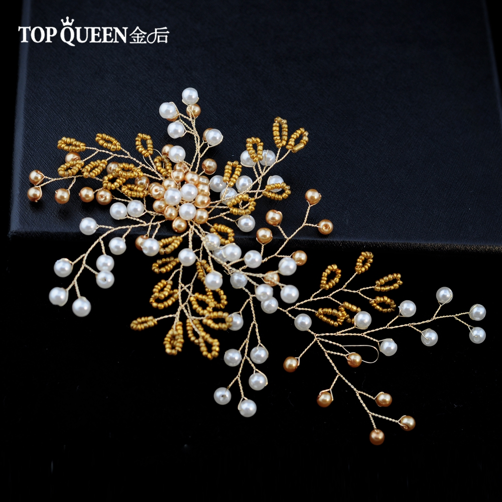 TOPQUEEN HP102 Bridal Hair Wedding Accessories Headpieces With Golden Pearls Gold Color Bride Hair Jewelry Fast Shipping