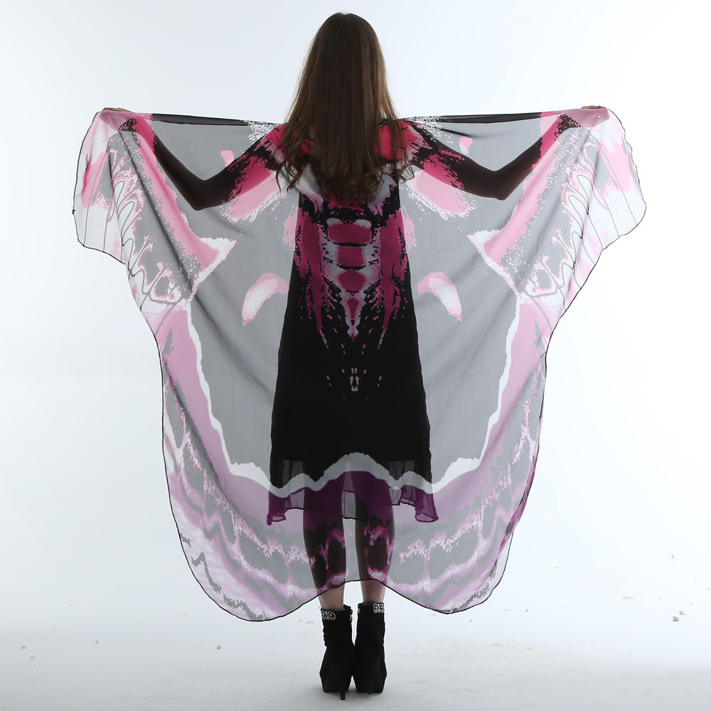 Women Lady Long Butterfly Wing Cape Soft   Scarf     Scarves     Wrap   Shawl Nymph Costume For Female #20