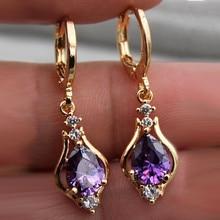 ECODAY Gold Color Earings Waterdrop Cubic Zirconia Earrings for Women Drop Brincos Wedding Jewelry