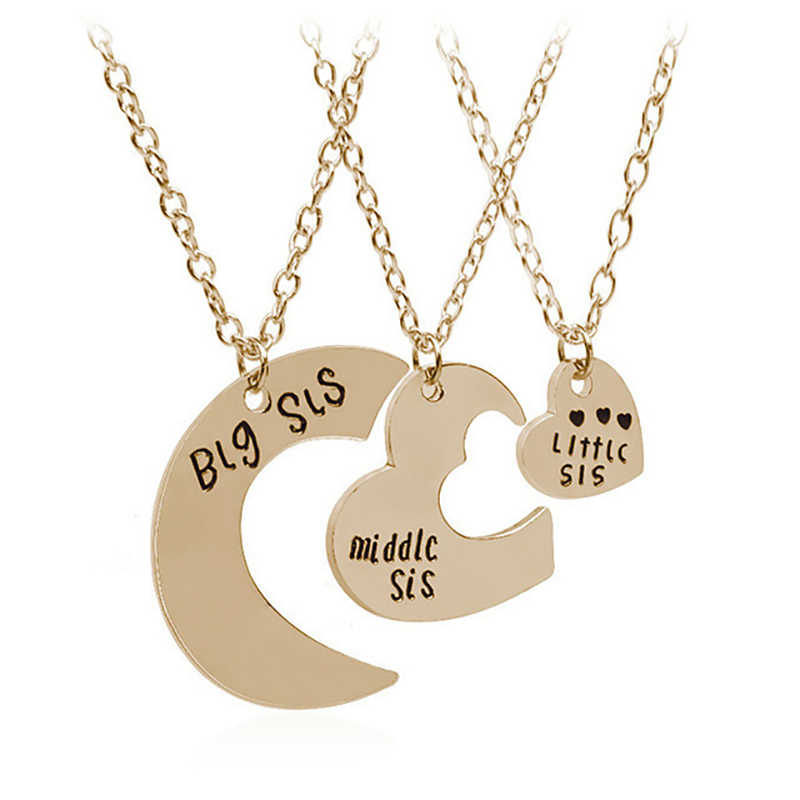 2/3 шт Большой Средний Маленький сестер Подвески ожерелье s наборы Головоломка Сердце ожерелье заявление BFF дружбы для девочек женские подарки